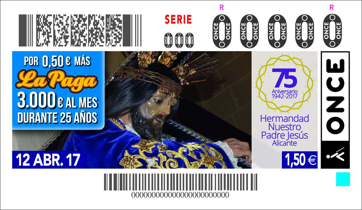Presentación Cupón De La ONCE Dedicado A Nuestro Padre Jesús Por Su 75 Aniversarío.