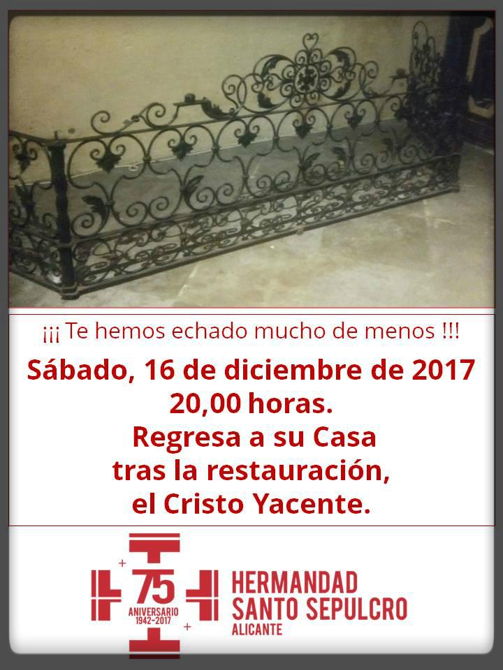 16 De Diciembre De 2017. La Imagen Del Cristo Yacente Vuelve A Su Casa